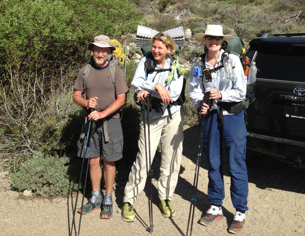 PCT:  Butterfingers, Sunshine and Anne going back in