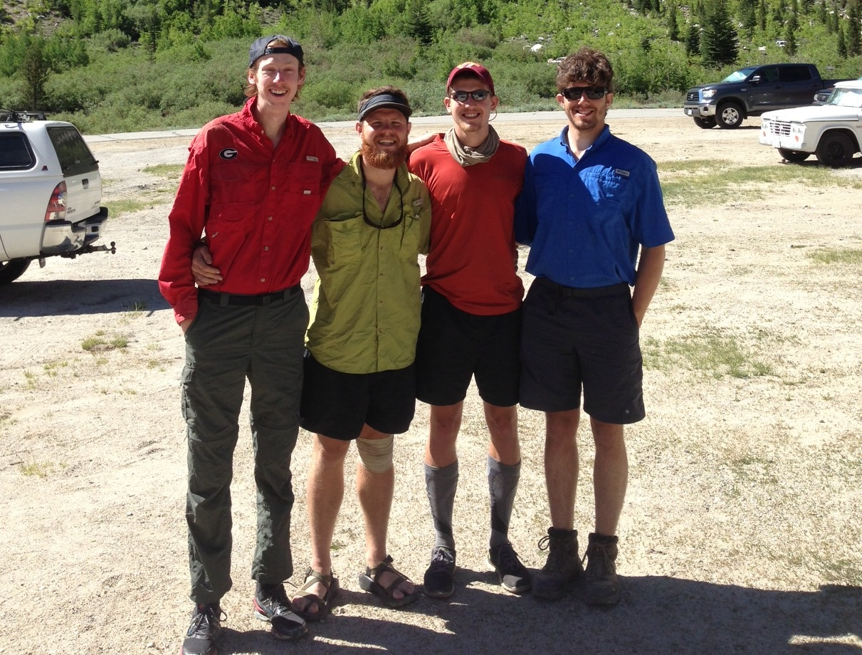 JMT:  John, Gray, Chris and Robbie from Georgia were our first JMTers in 2014 on June 12