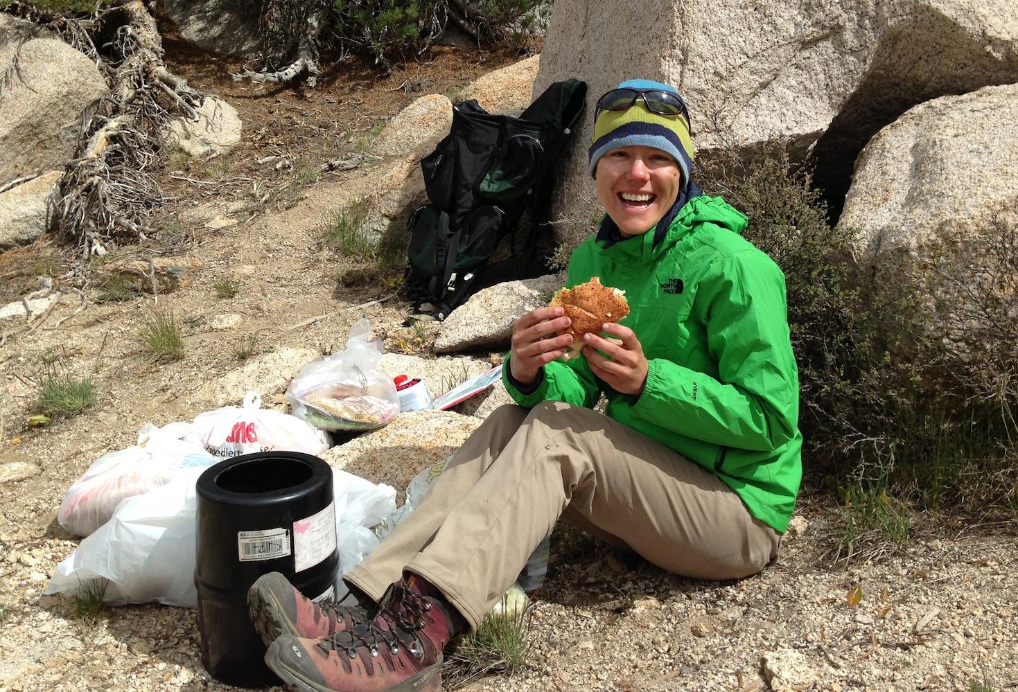 JMT: Briana enjoying her sandwich courtesy of Strider