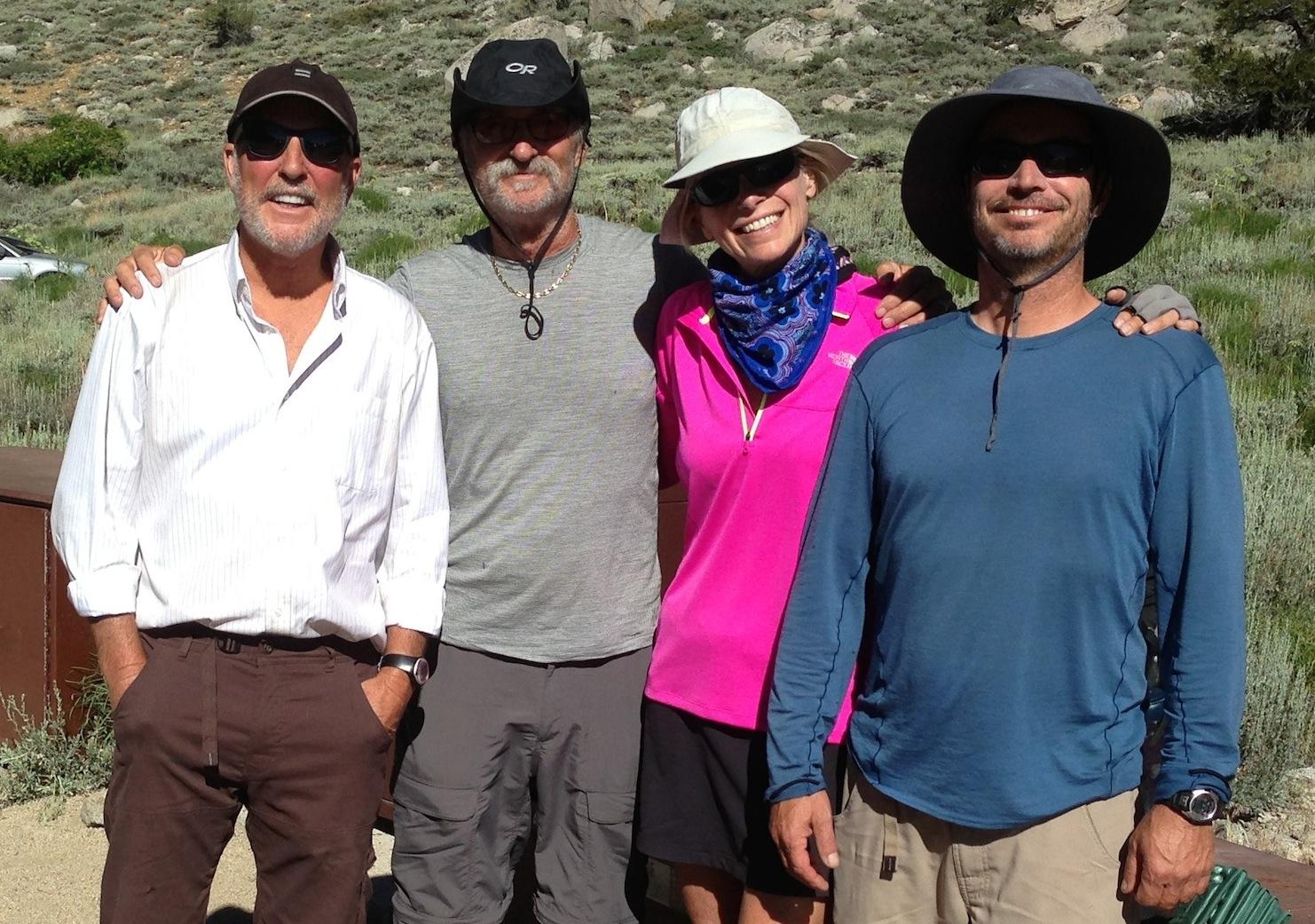 Strider with JMT nobo Santa Cruz (Glenn, Mark and Mike) on July 3