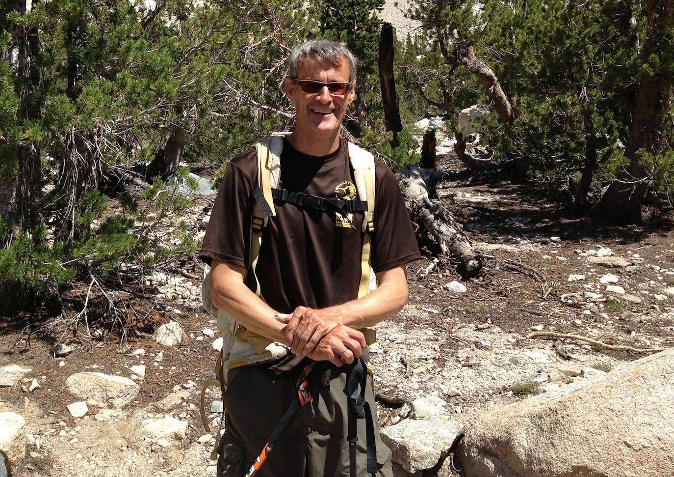 JMT nobo: Craig relaxes after he's done hiking by climbing peaks along the trail