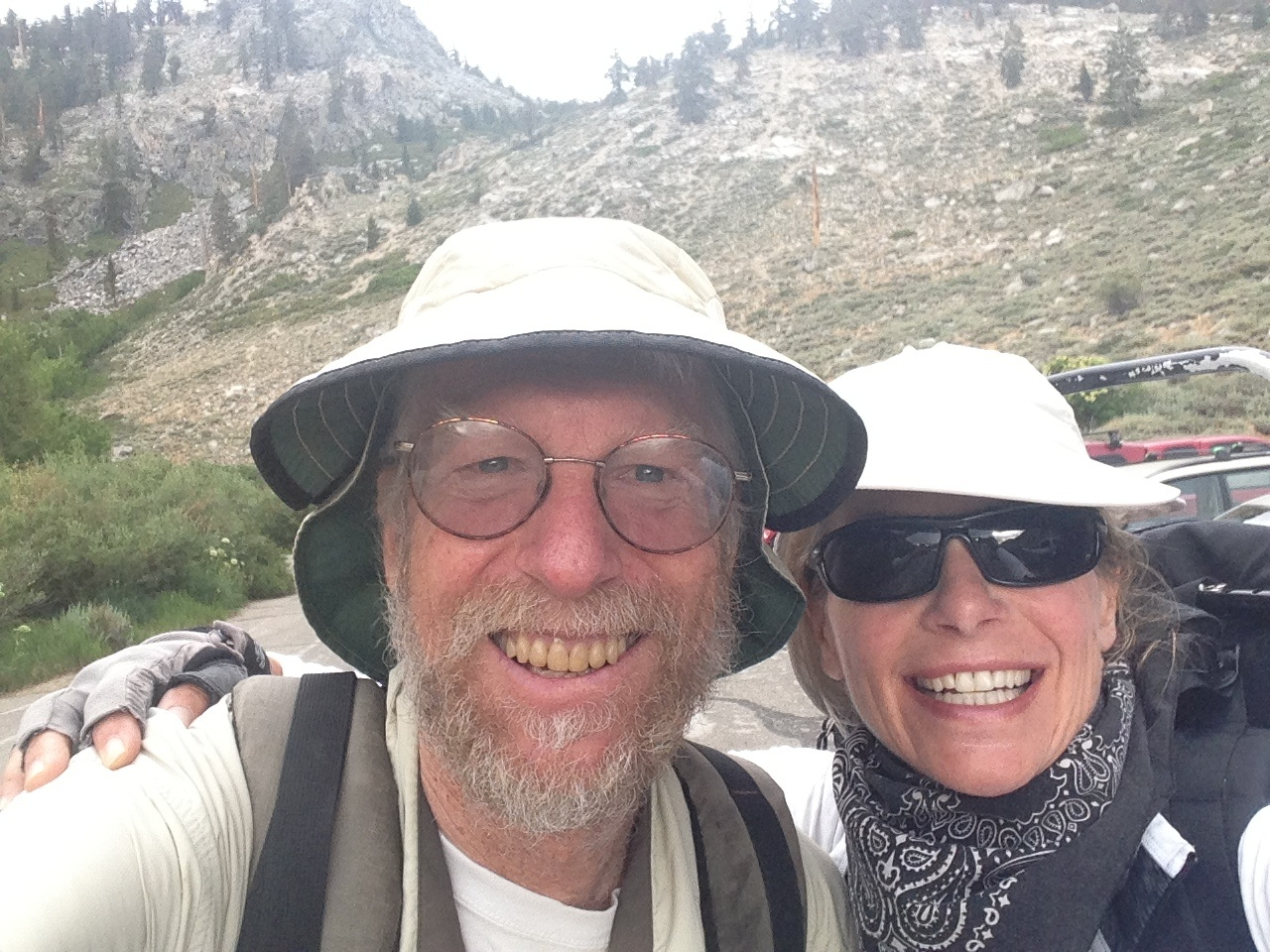 Dr. John Wehausen, founder of the Sierra Nevada Bighorn Sheep Foundation, and Strider on their way to Kearsarge Pass on a blustery July day.