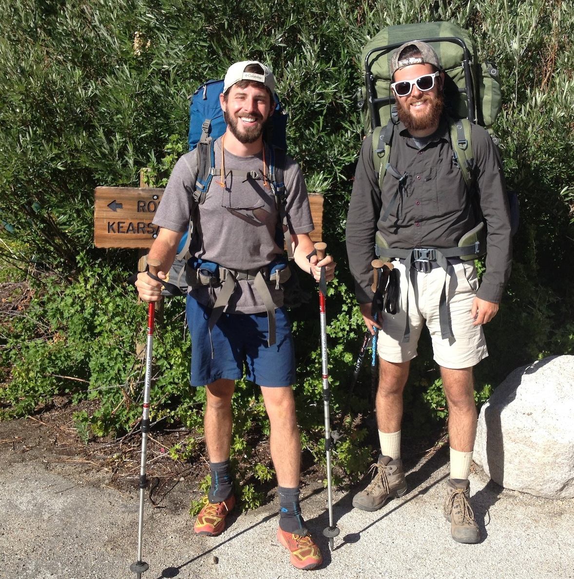 JMT hikers Jeremy and Quinn have good reason to be happy -- they got ahead of schedule and came out for a break at the Base Camp and missed some serious July weather in the high Sierra.