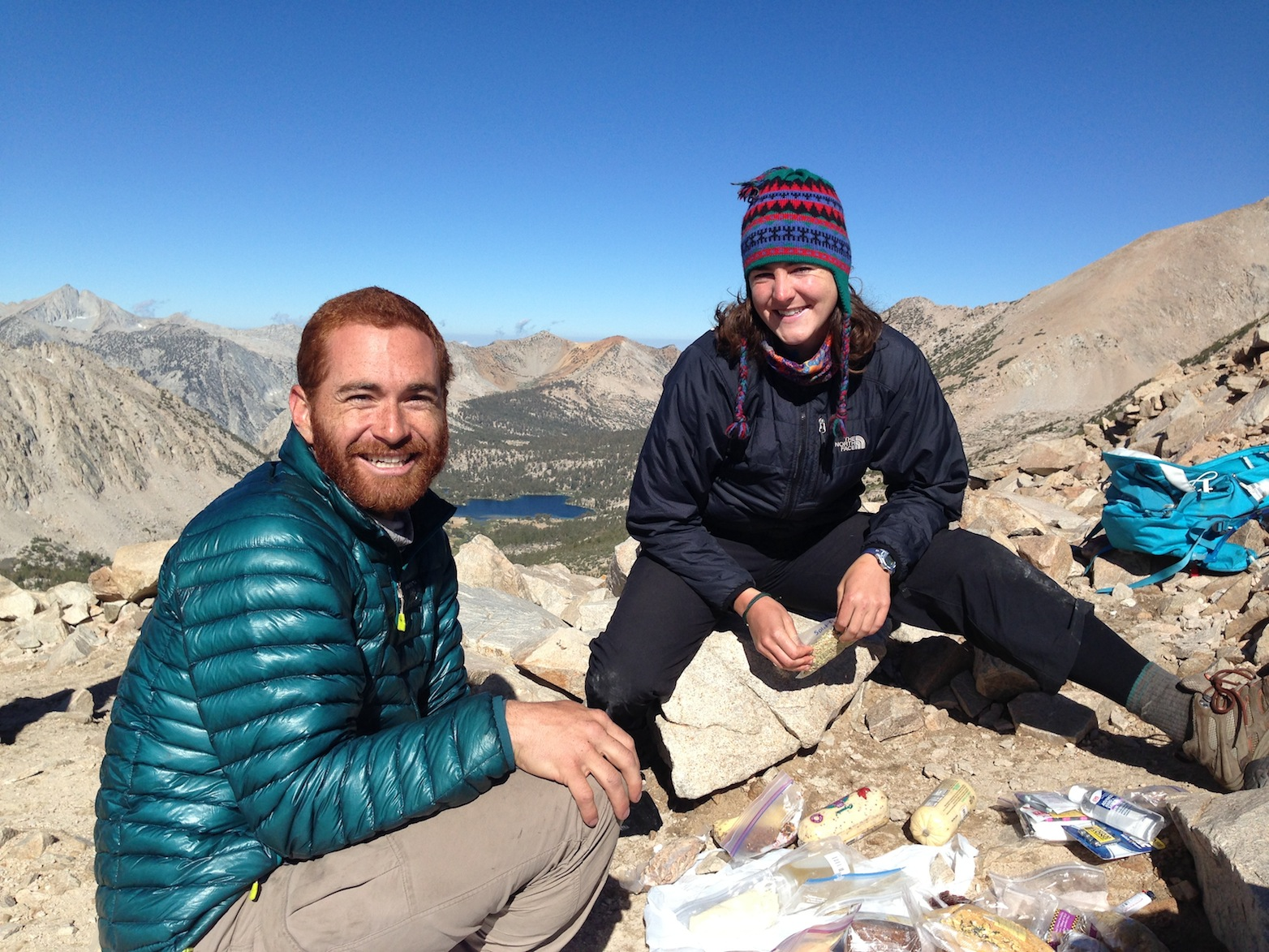 JMT hikers Adam and a happy friend on Kearsarge Pass on July 21.