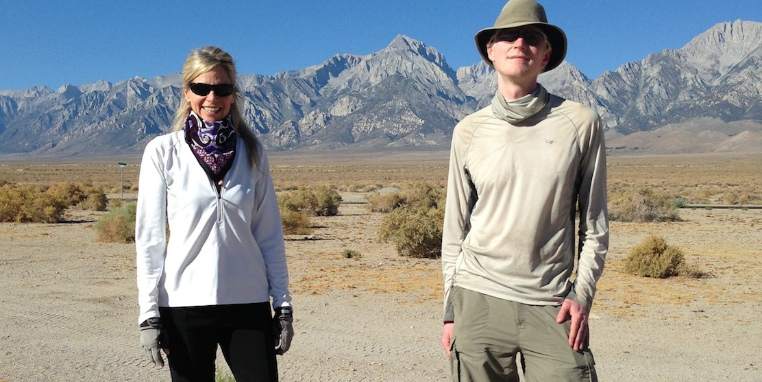 Strider and Andy, a section hiker from Seattle, at the Base Camp with Mt. Williamson in the background.
