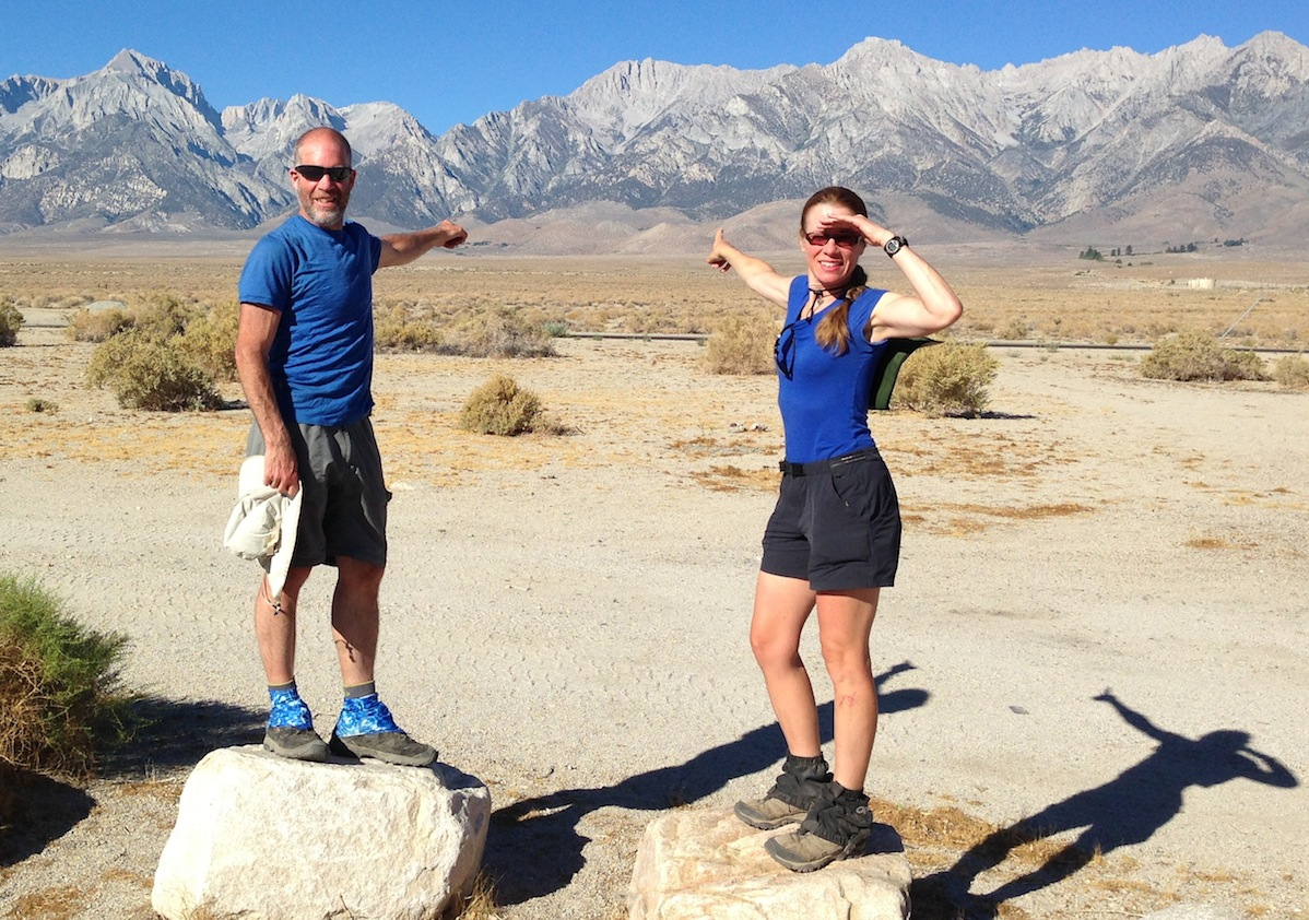 Don and Karin from New England at the Base Camp before heading back to where they are pointing. Don is doing the JMT yoyo!!
