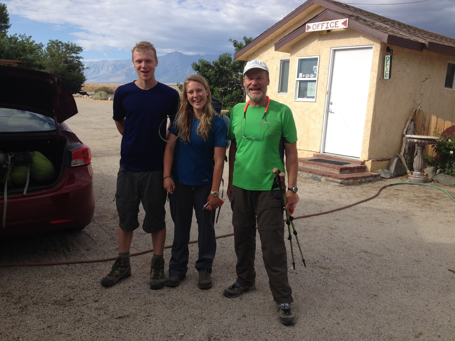 British JMT hikers Richard and Elena and father Gordon at the Base Camp before heading back up to the trail