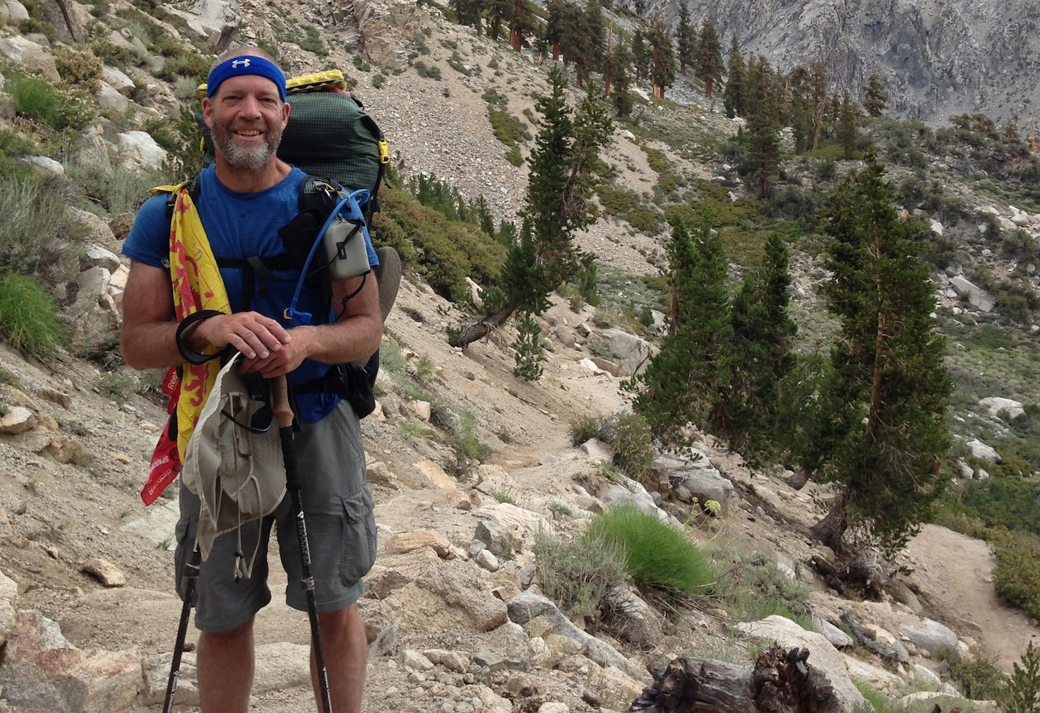 Don, a wicked strong hiker from Connecticut, on his way back up to Kearsarge Pass on a rainy day after his second visit to the Mt. Williamson Motel & Base Camp. Don is doing the JMT yoyo!!!