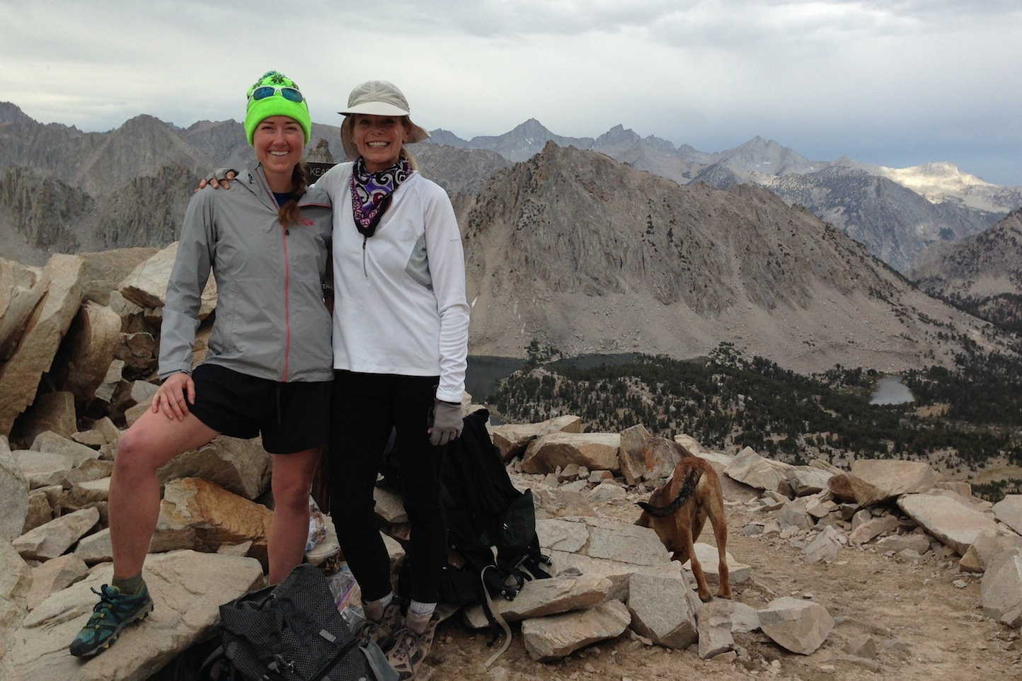 JMT hiker Pam with Strider and Indy on Kearsarge Pass on a cool, rainy July 30th.