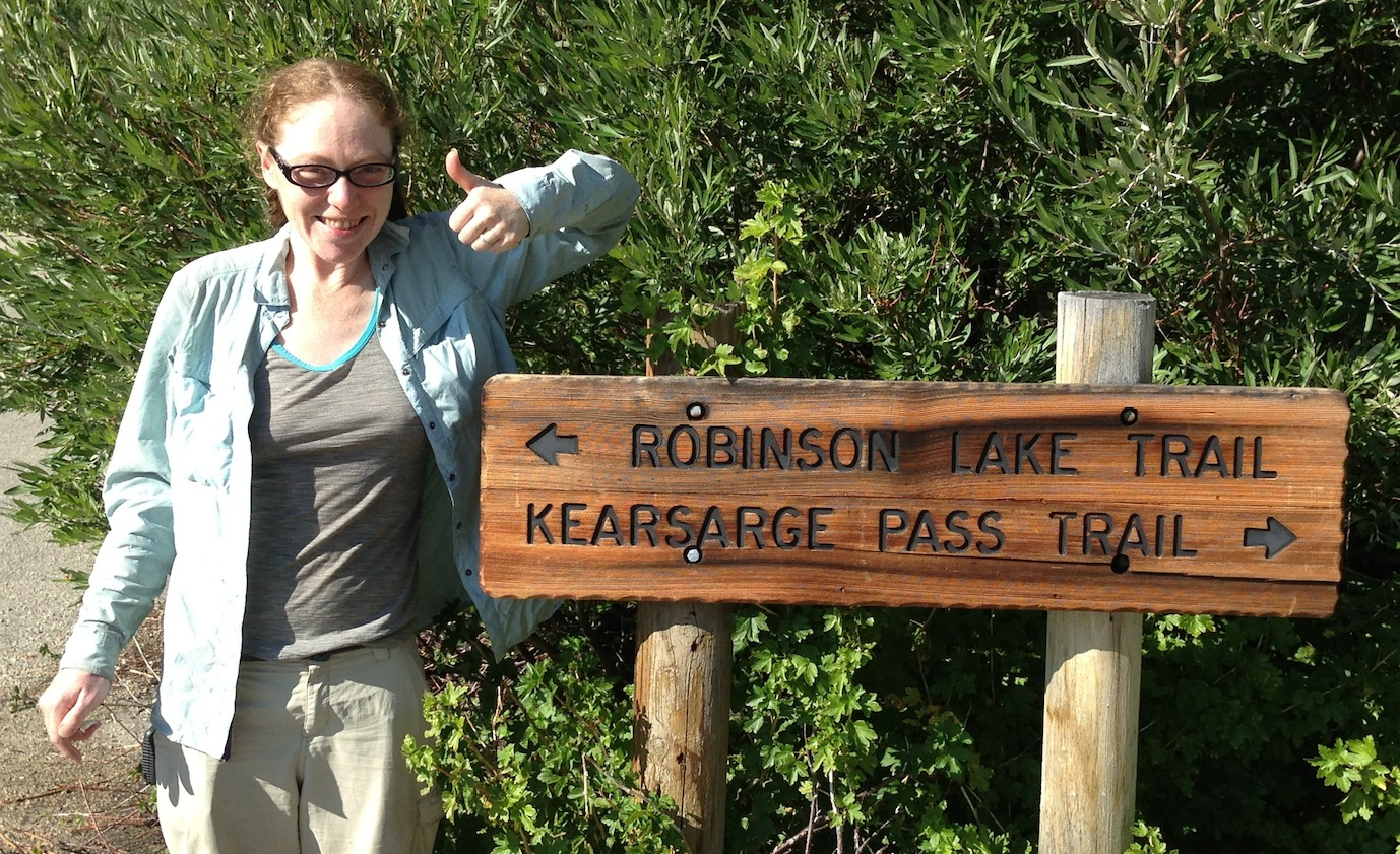 JMT hiker Ruby from Oakland can't wait to head up and over Kearsarge Pass after waiting out some nasty weather at the Base Camp.