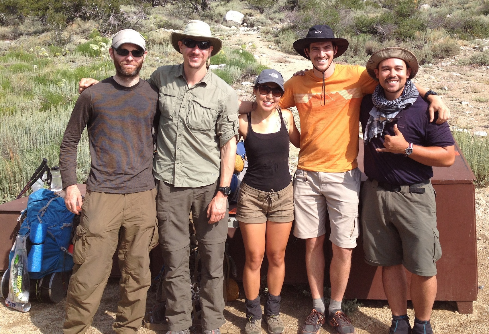 James and Josh from Austin, Texas, and SF Bay Area hikers Naomi, Jerry and Leon are ready to head over Kearsarge Pass and finish the JMT after staying at the Base Camp in Independence.