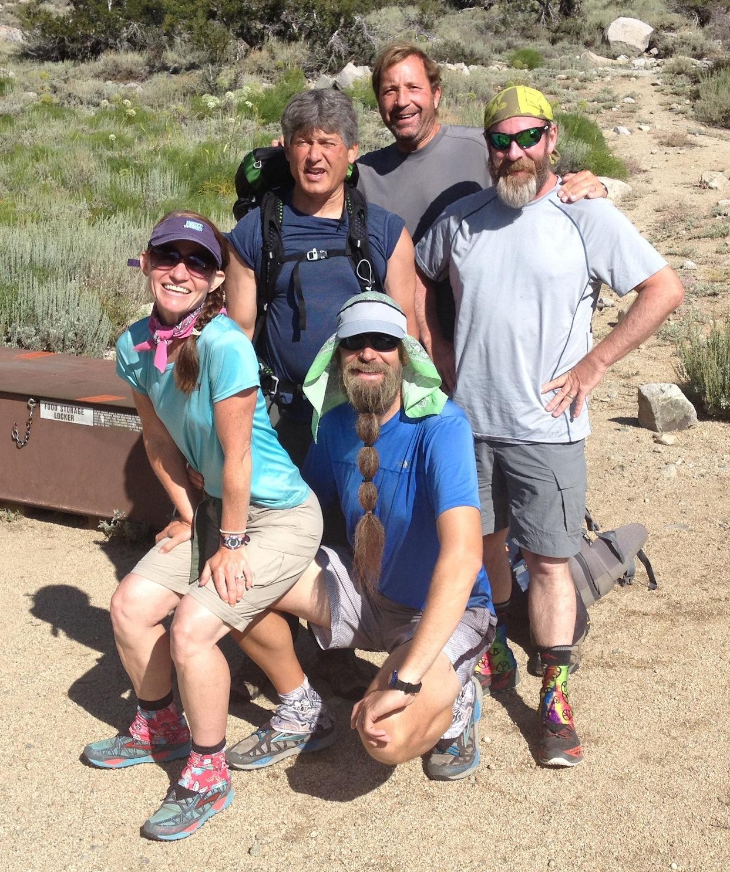 JMT hikers Sweet Pea, Beardo, Mike, Tom and Mace ready to resume their Mt. Whitney adventure