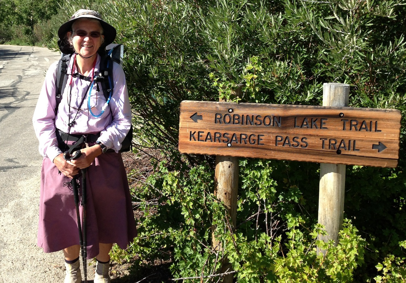 JMT hiker Dr. Patti from Indiana is rested and ready to summit Mt. Whitney after a break at the Base Camp.