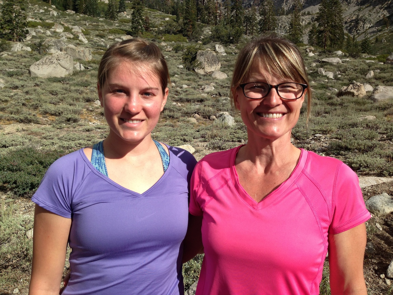 JMT hikers Beth and Debbie (mother and daughter) are ready to tackle Kearsarge Pass