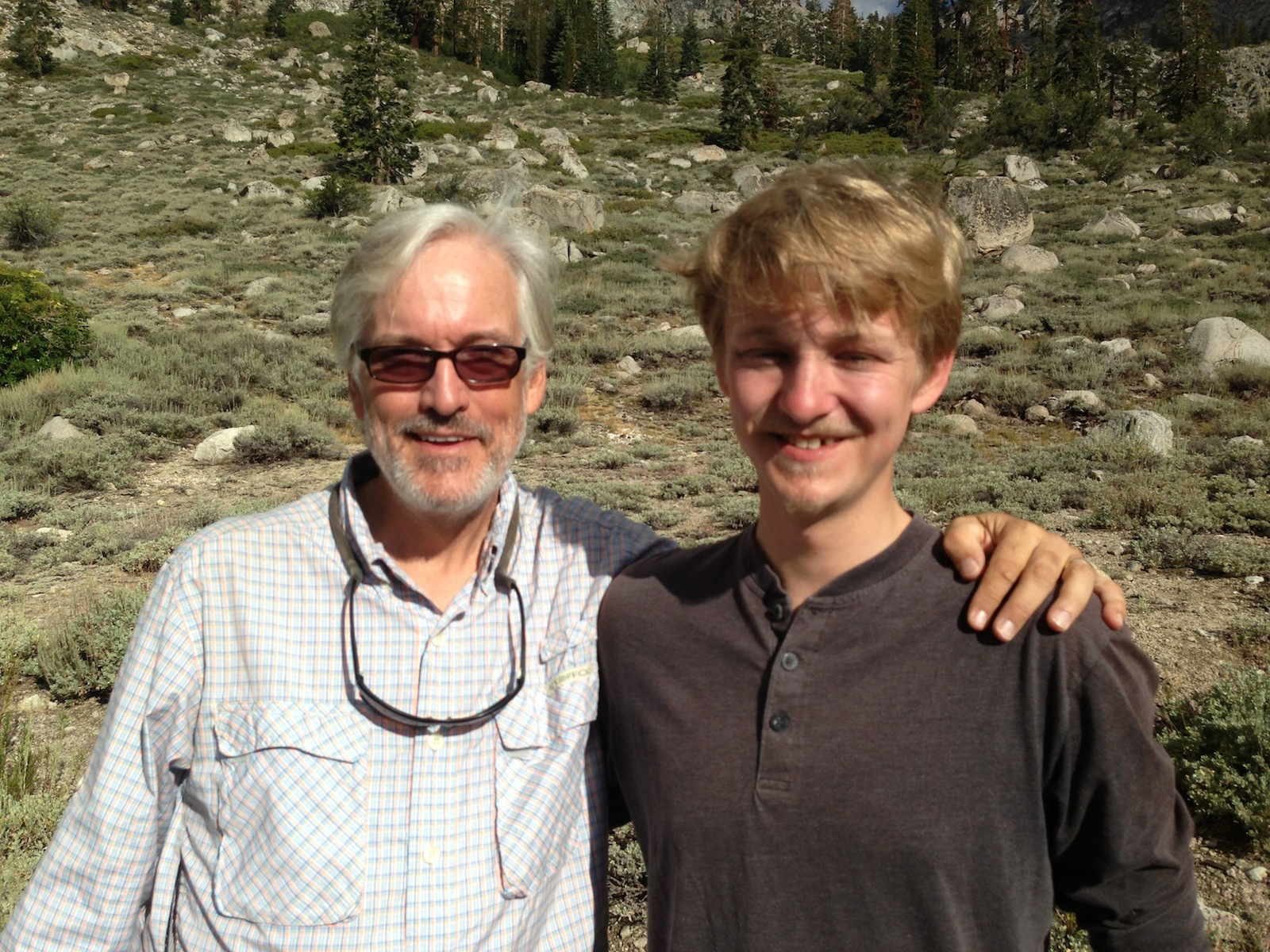 Father-son JMT hikers Greg and Justin on the way back over Kearsarge Pass