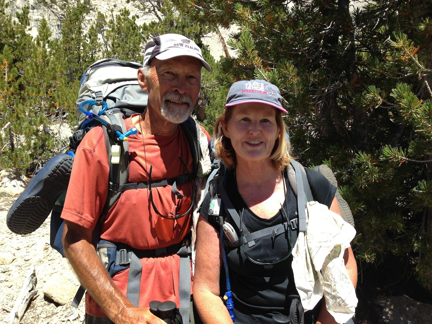 JMT hikers Jeff and Kathy from San Rafael look strong on Aug. 16 on their way up Kearsarge Pass and over Whitney.