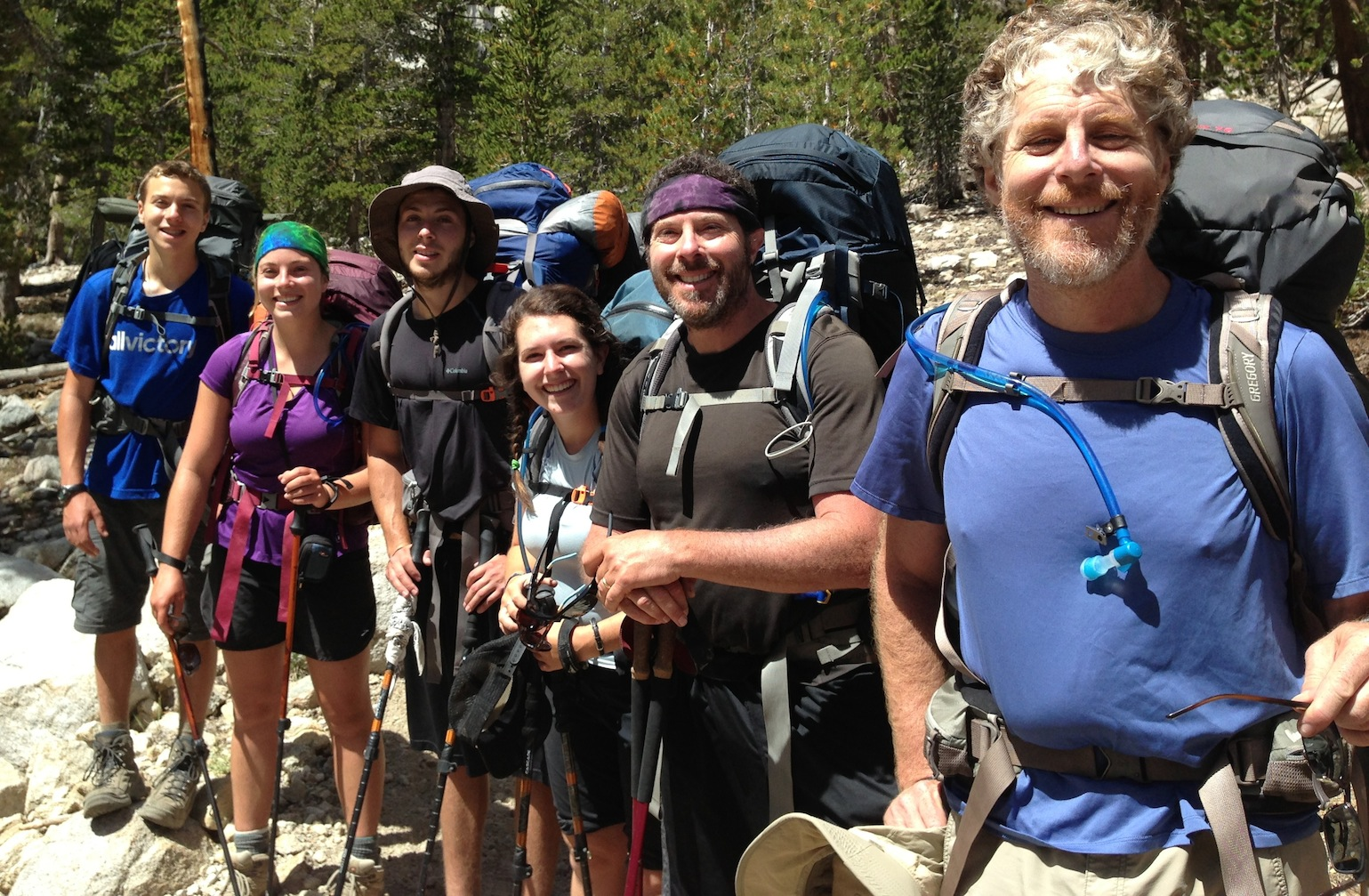 JMT hikers Scrappy, Murder, Bodangles, Tangles, Dr. Beans and Steve on the way back over Kearsarge Pass on Aug. 19 on their way to Mt. Whitney.