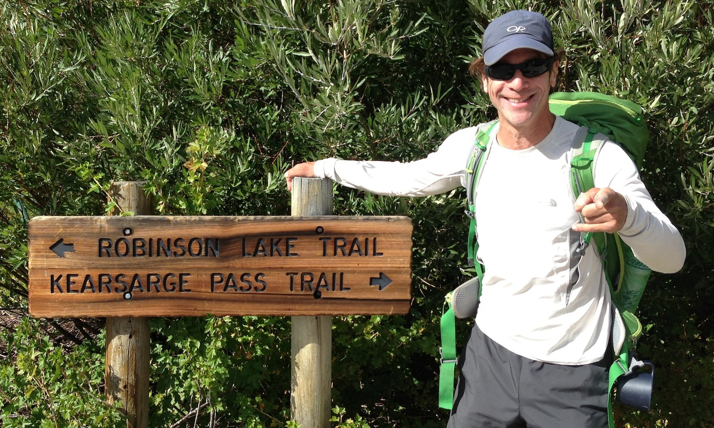 JMT hiker Jesse from Petaluma has a song in his heart and a light pack on his back as he gets ready to fly up and over Kearsarge Pass on August 19.