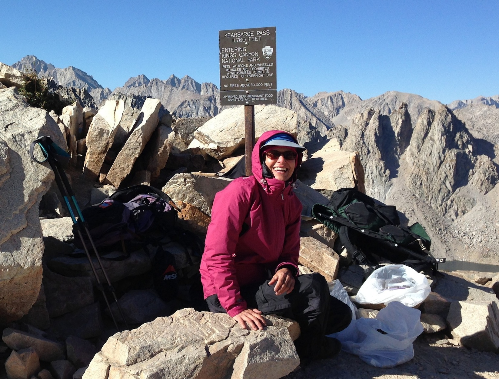 Christiane from D.C. on Kearsarge Pass on her way to Mt. Whitney -- and then the Base Camp!