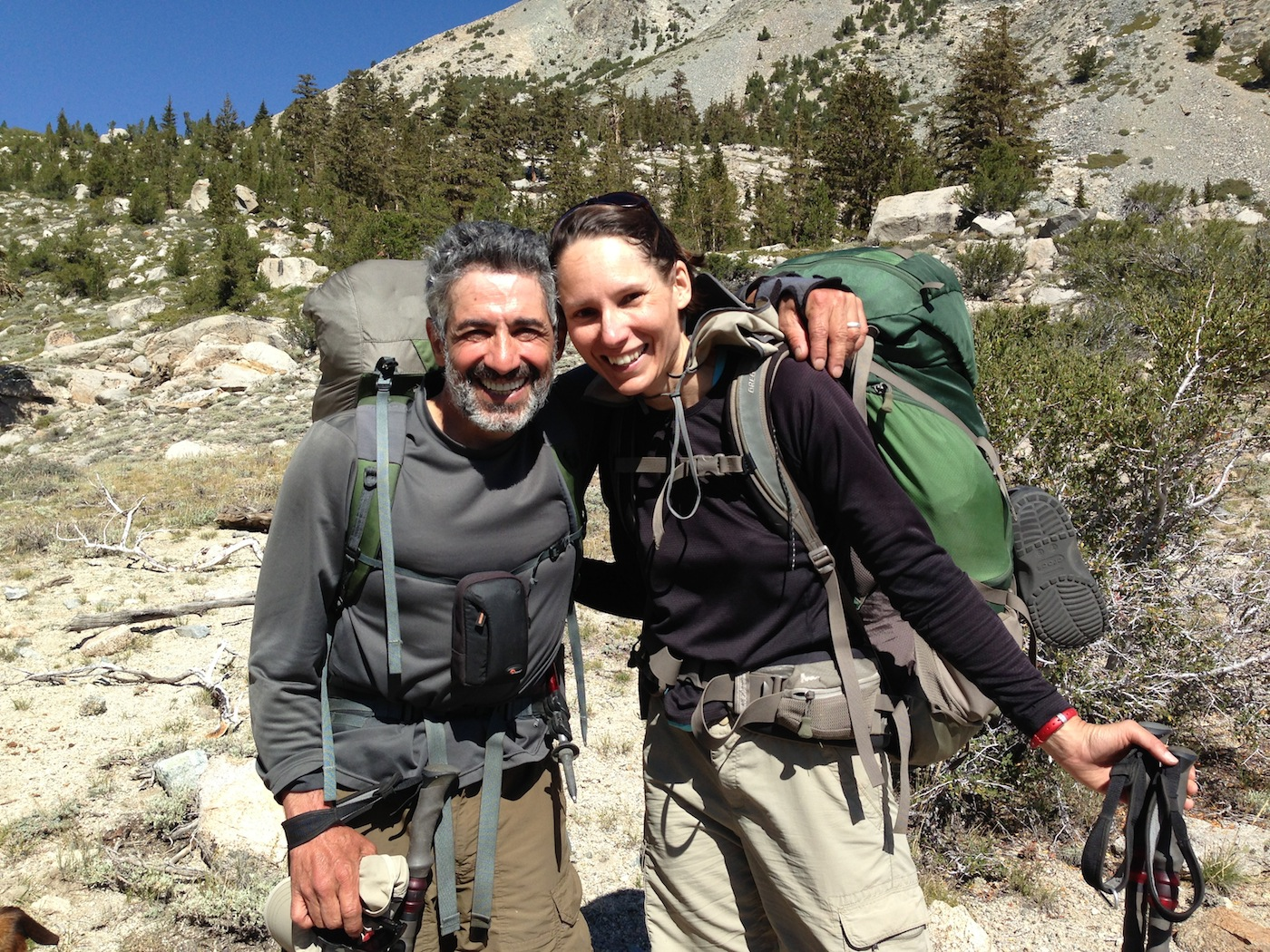JMT hikers Ehsan and Kate from Chicago are radiant as they head up to Kearsarge Pass on Aug. 22