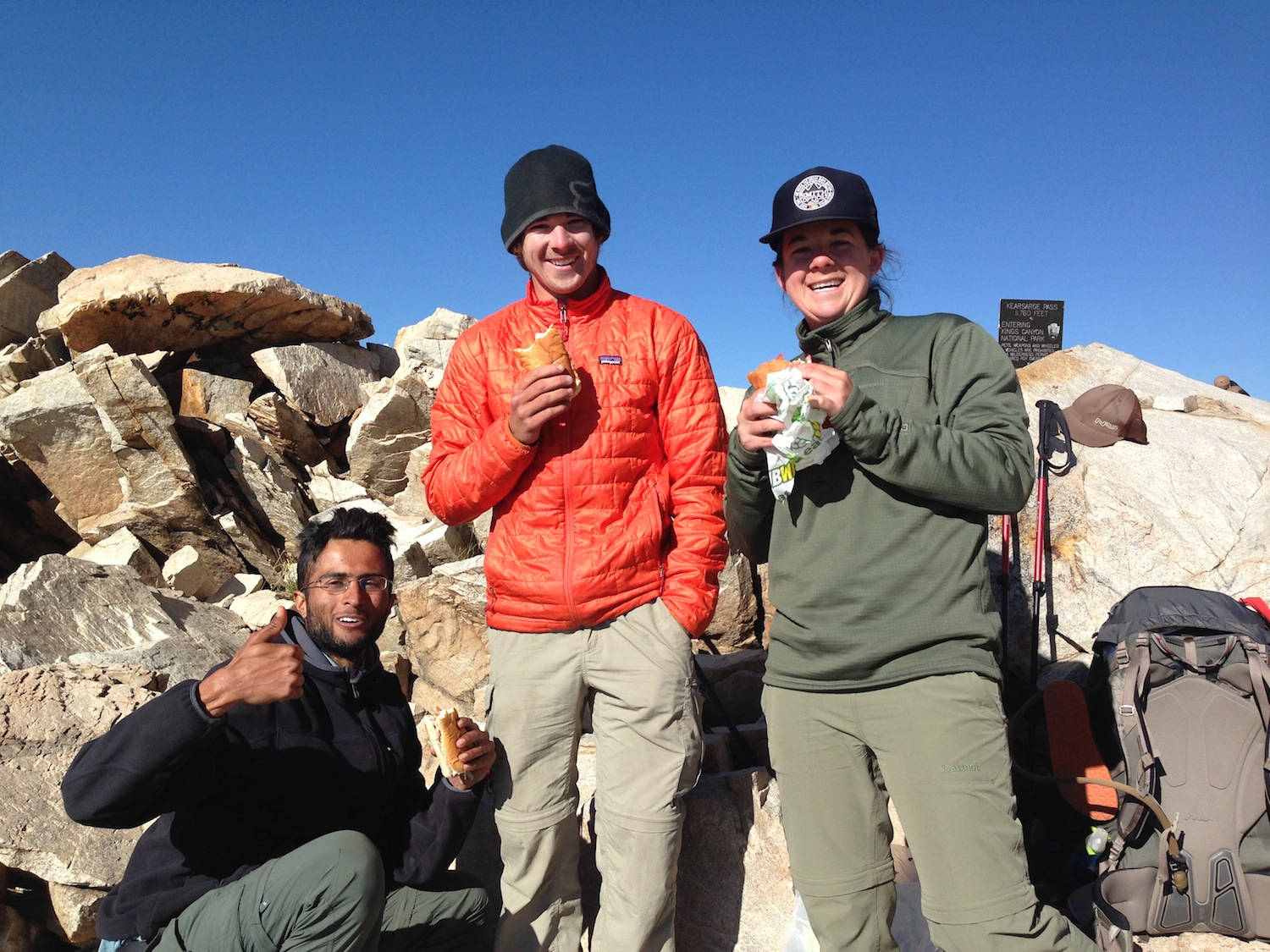 JMT hikers Sunny, Phillip and Emily are loving life and a sando on Kearsarge Pass