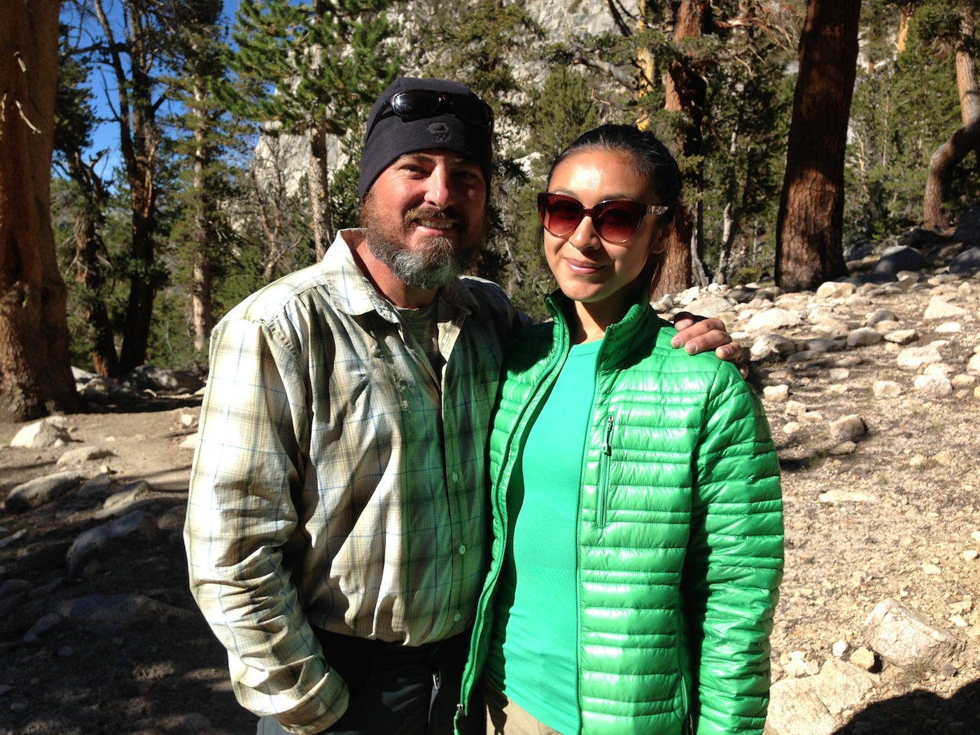JMT hikers Kent and Priscilla on the trail near Bullfrog Lake on Aug. 29