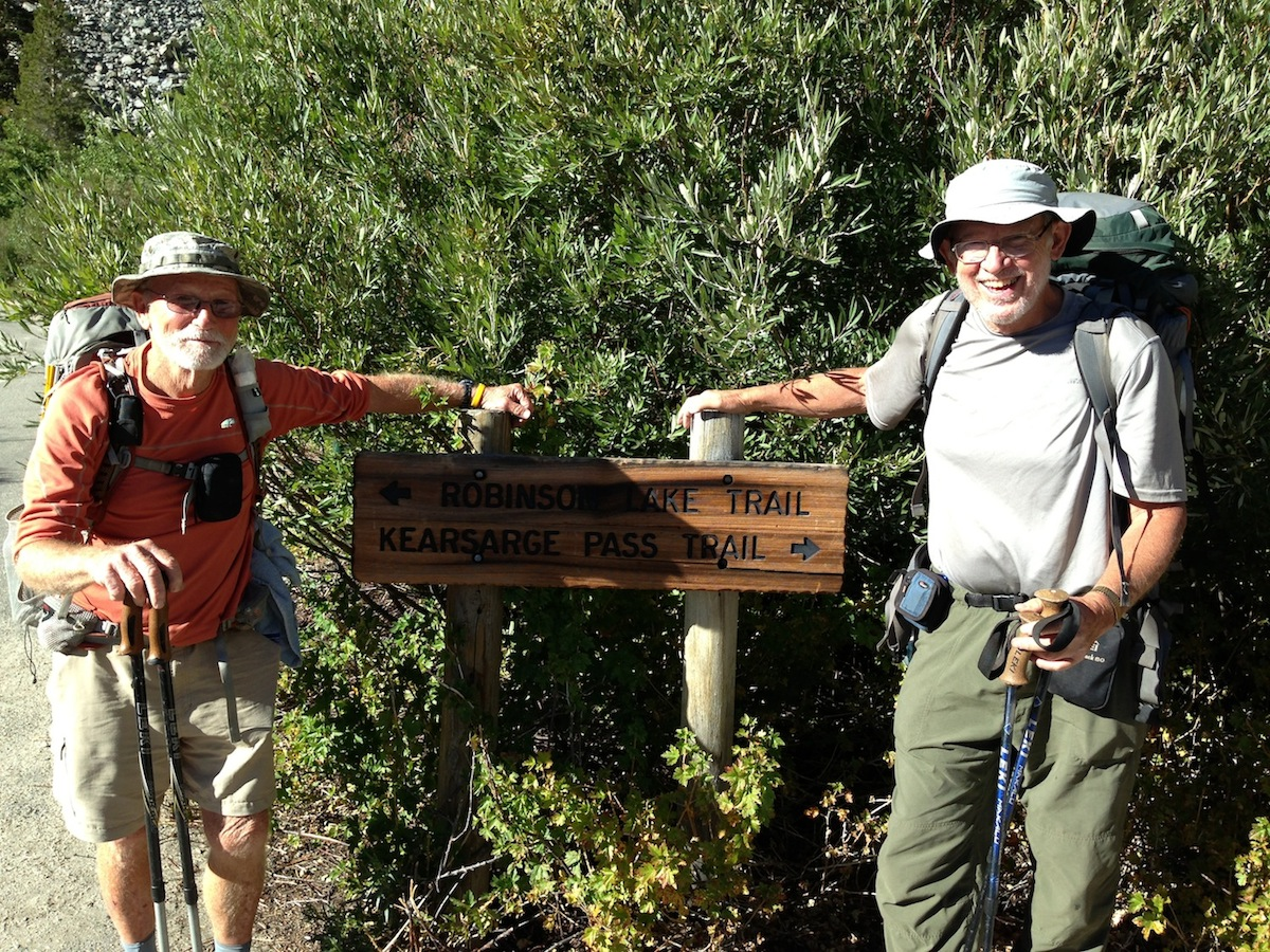 True Gentleman JMT hikers Don from Tennessee and Randy from Virginia prepare to hit the trail after a stay at the Base Camp