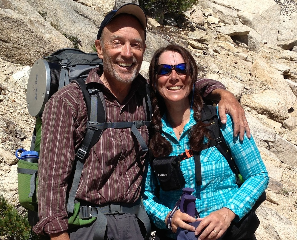 JMT hikers Mike and Val from Tucson are looking good and strong on their way over Kearsarge to Whitney on Aug. 26.