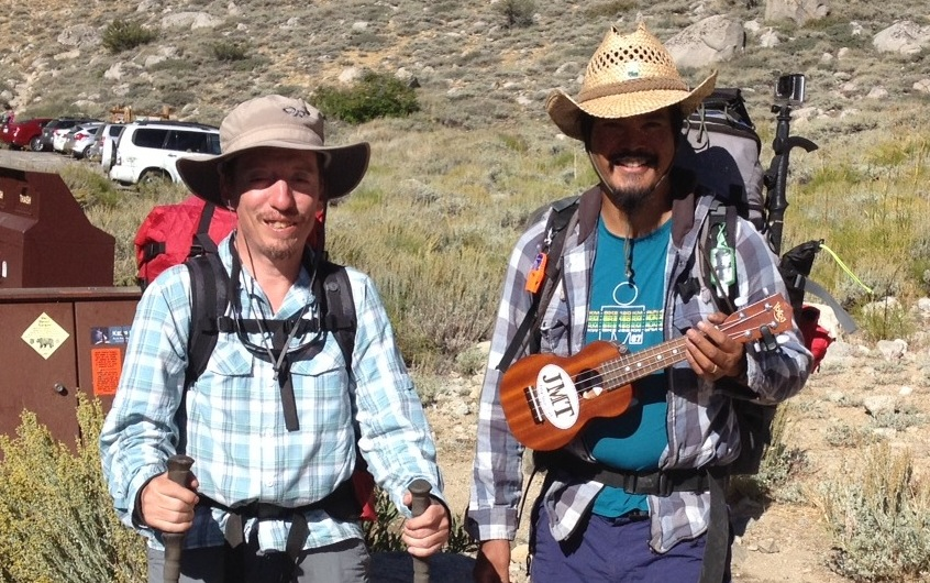Mike and Ben the music man at Onion Valley before they head over Keasarge Pass on Aug. 28