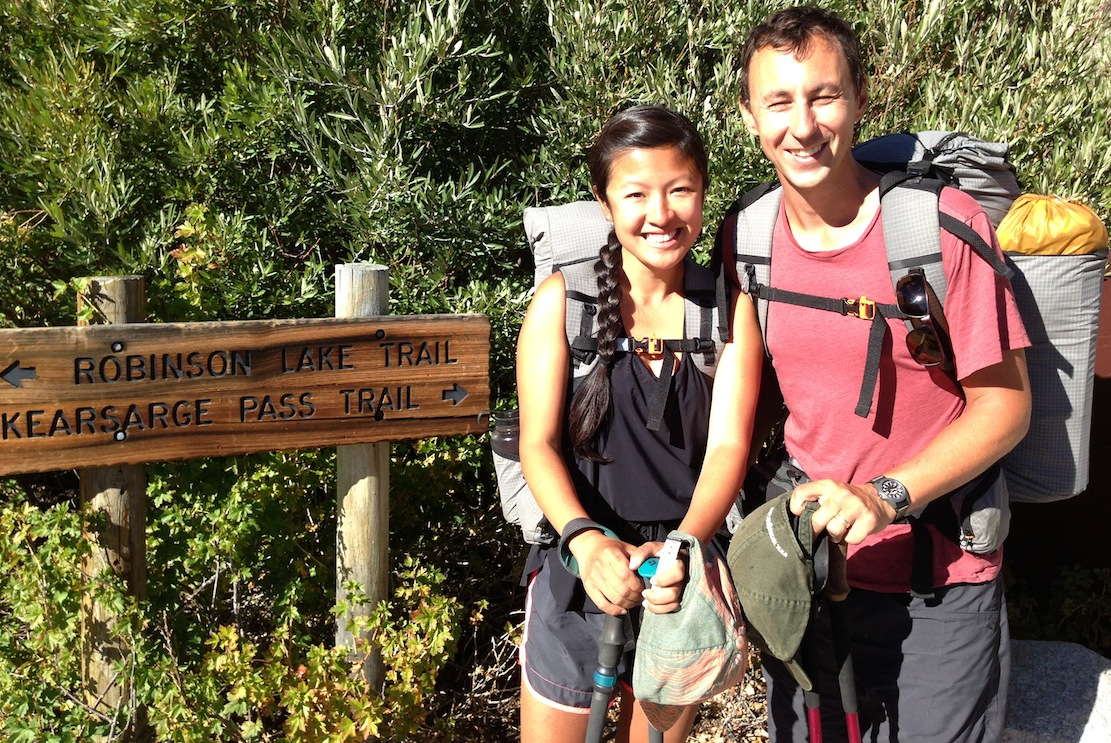 JMT hikers Erica and Jesse from New York/Vermont are ready to charge over Kearsarge Pass and then Mt. Whitney after two days at the Base Camp.