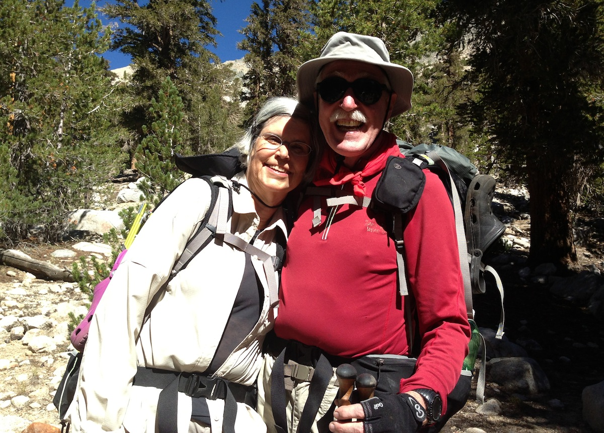 Lois and Mark from Lake Oswego, Wash., on their way up Kearsarge Pass on a glorious September day. It was great to see you again at the Base Camp!