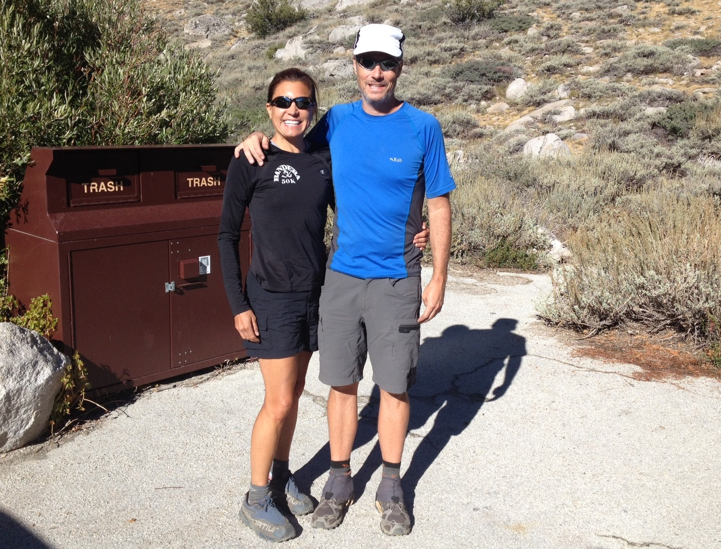 JMT hikers Tracy and Jim from Austin, Texas, hit the trail after two nights at the Base Camp.