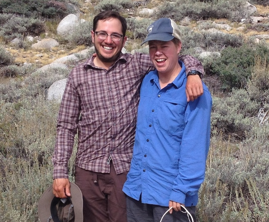 JMT hikers Felix and Betsy from Portland and Seattle are looking good after a night at the Base Camp. They are on their way to the top of Mt. Whitney!