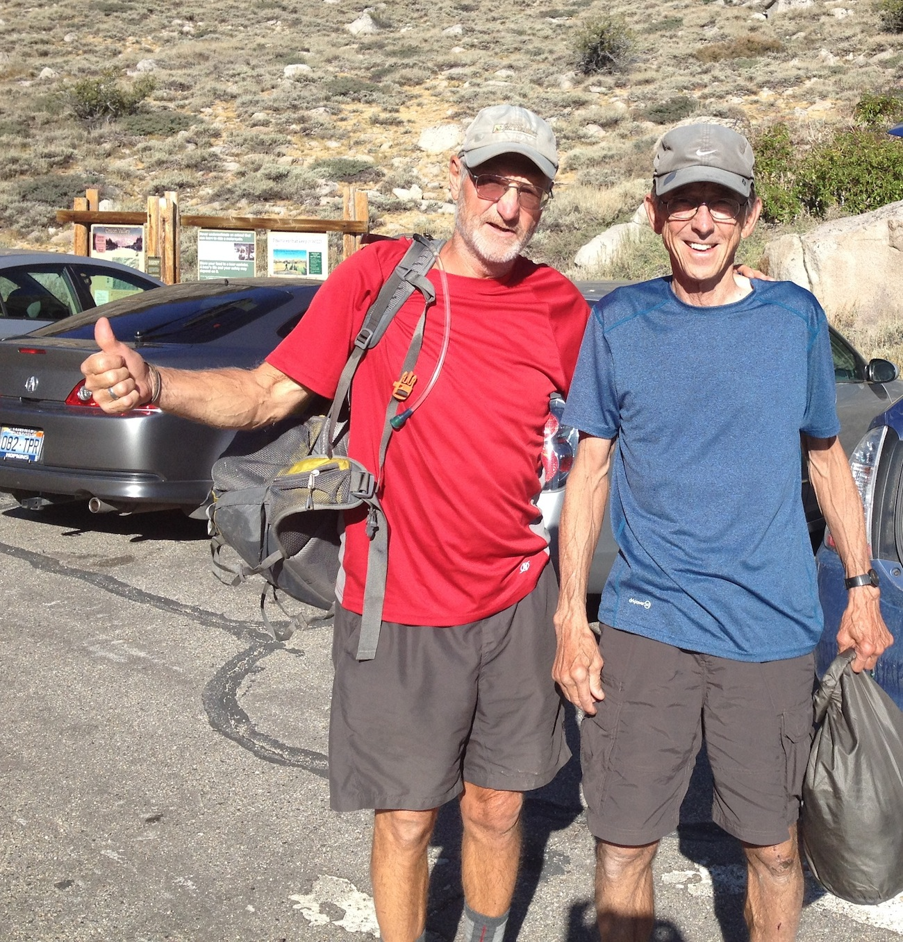 Dick and Larry from Reno on their way back up Kearsarge Pass and then on to Mt. Whitney. If they get bored they will bag a few more peaks along the way.