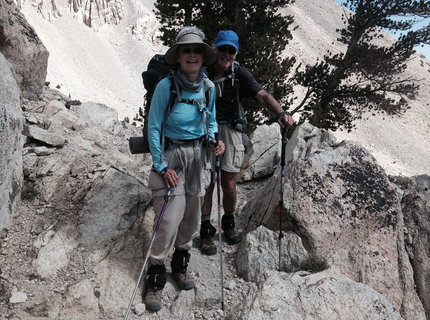 JMT hikers Pat and Mike from Berkeley near Heart Lake on their way to Kearsarge Pass