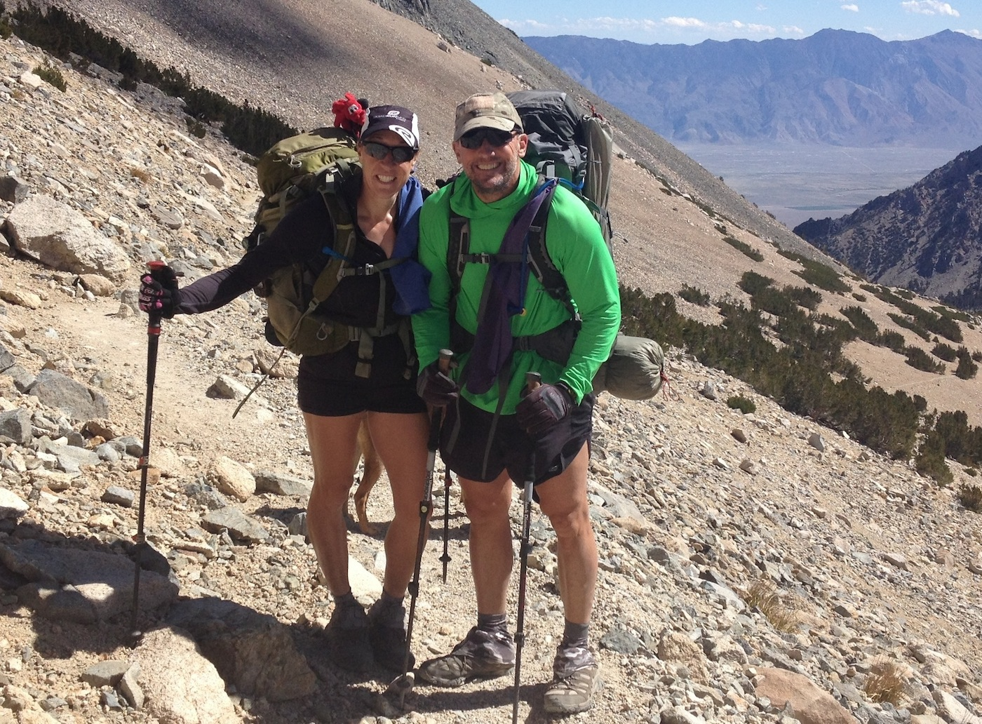 JMT hikers Beth and Tom from Vista, California, pause just below Kearsarge Pass on their way to Mt. Whitney after two relaxing days at the Base Camp.