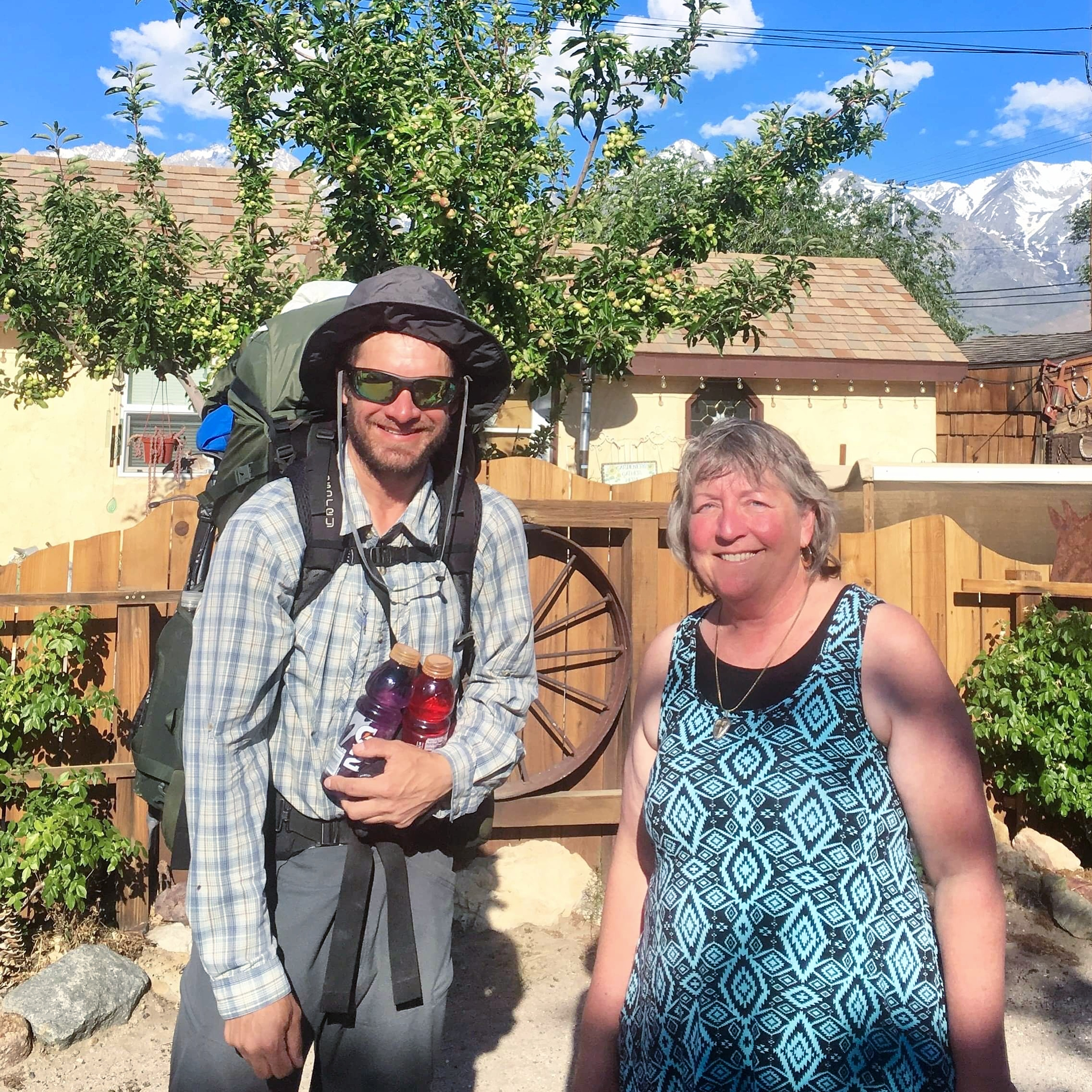 PCT hiker Kevin with motel owner Lauralyn