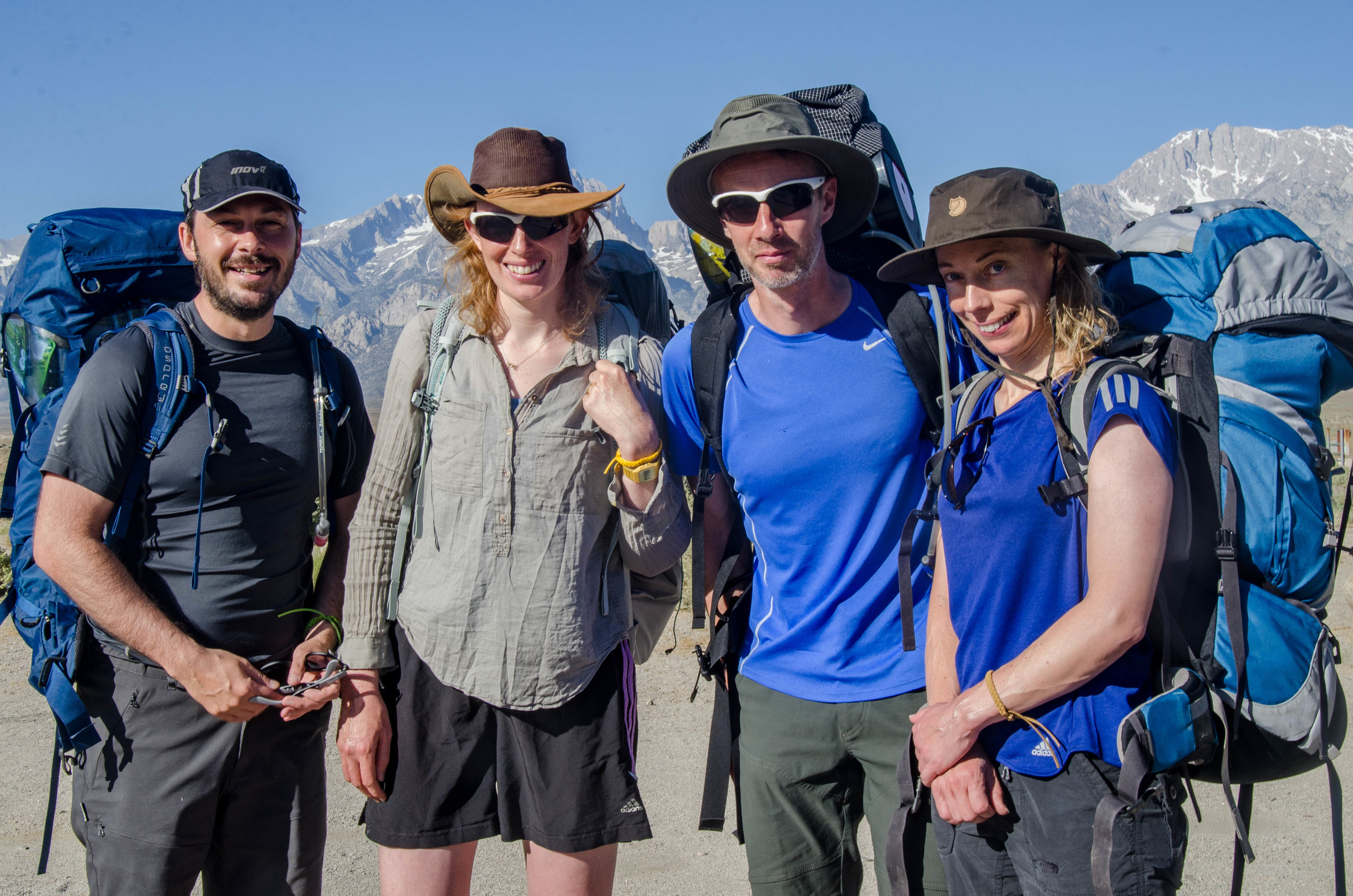 North Bound JMT Hikers from the UK Shelly, David, Juliet and Stuart