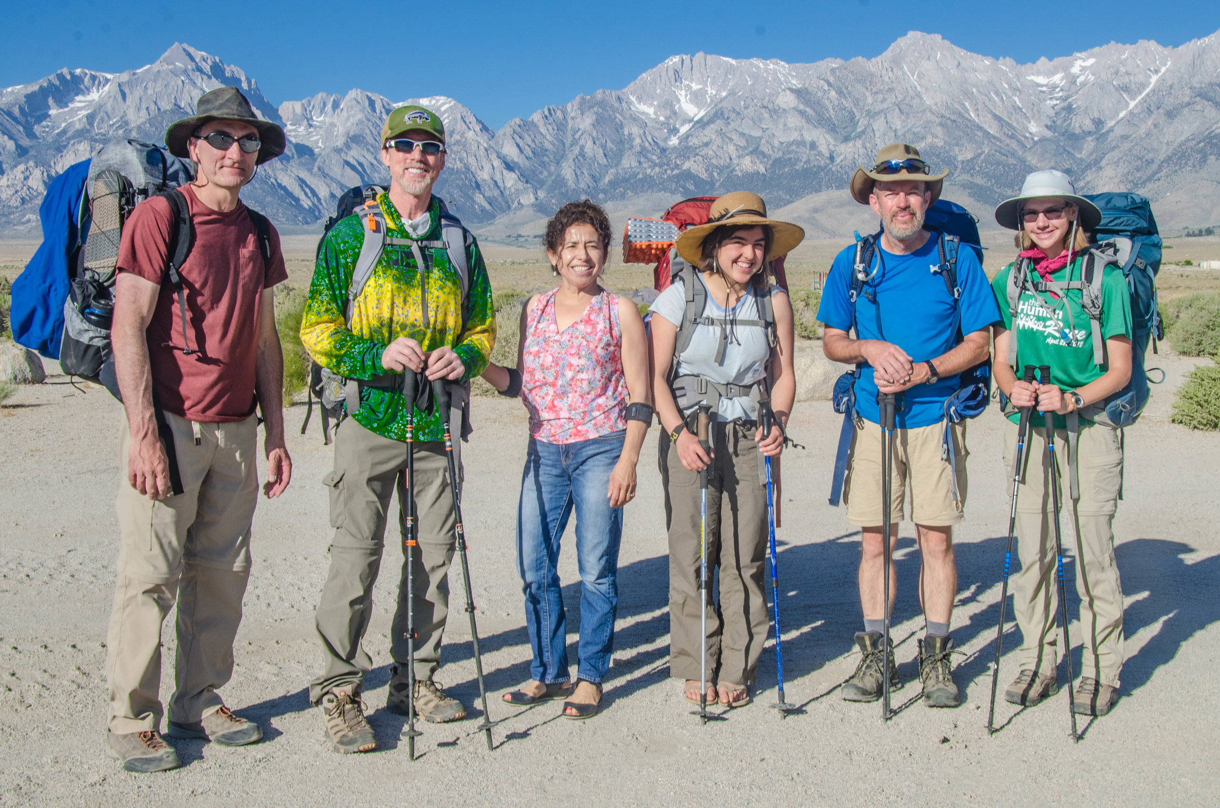 Northbound JMT hikers: Mike,Michael, Erika, Jeffery, and Rachel