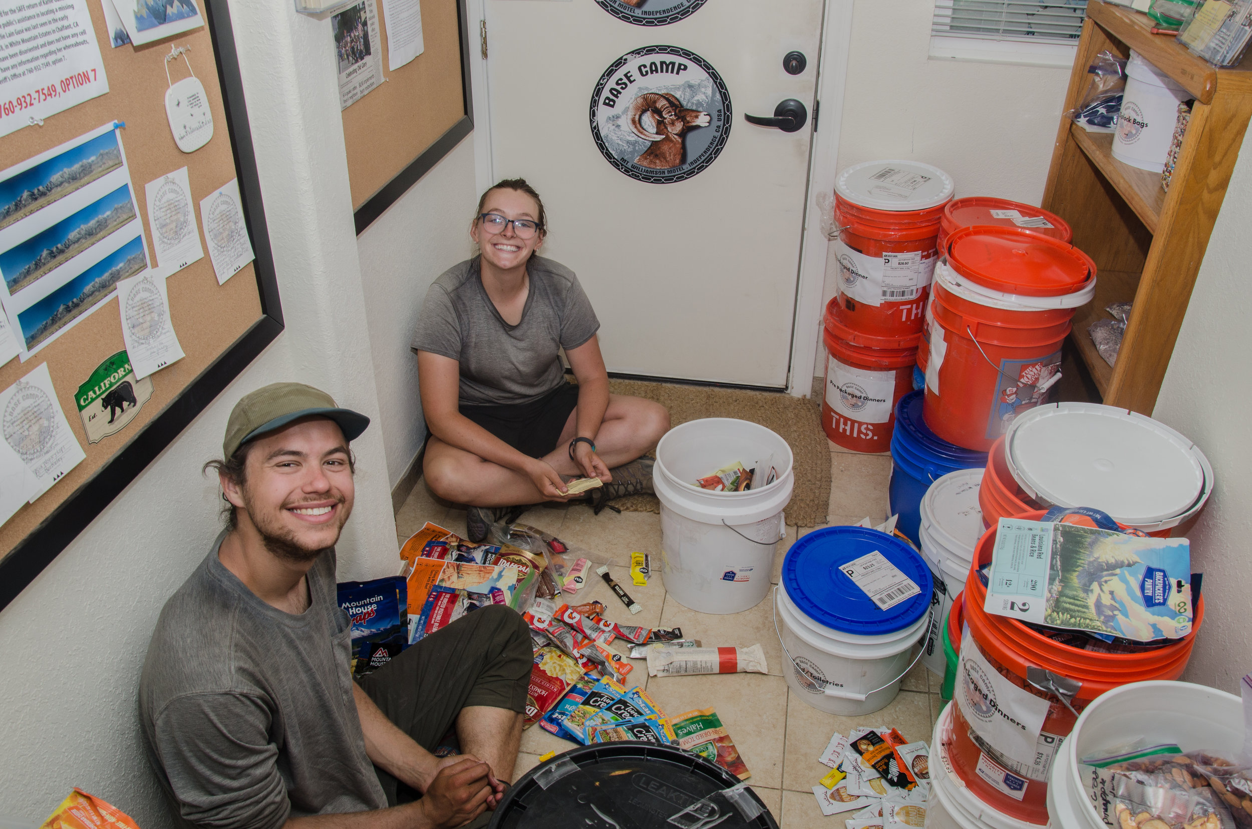 JMT Hikers Andrew and Grace raid our free hiker bins