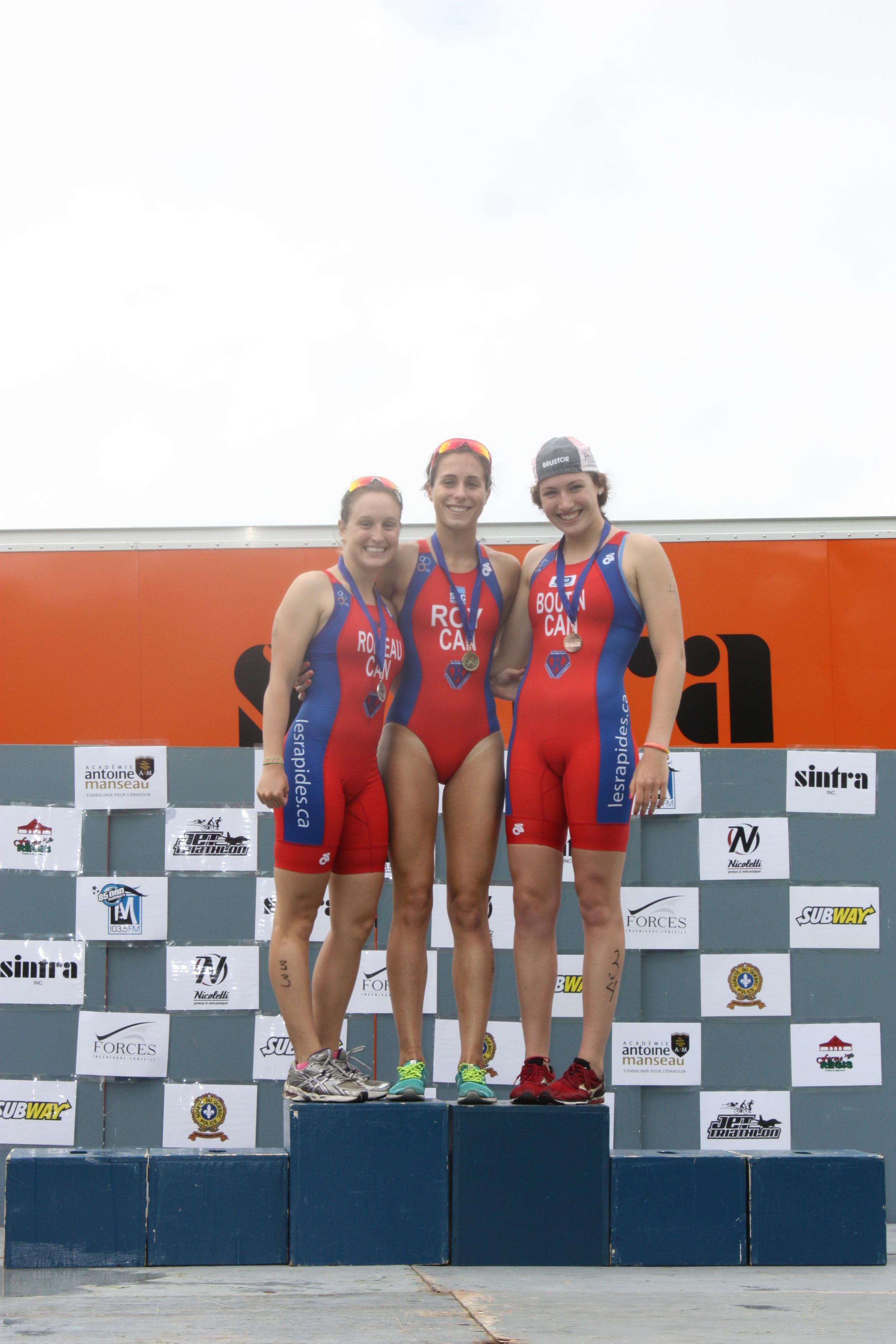 Podium composé des 3 athlètes élites des Rapides!