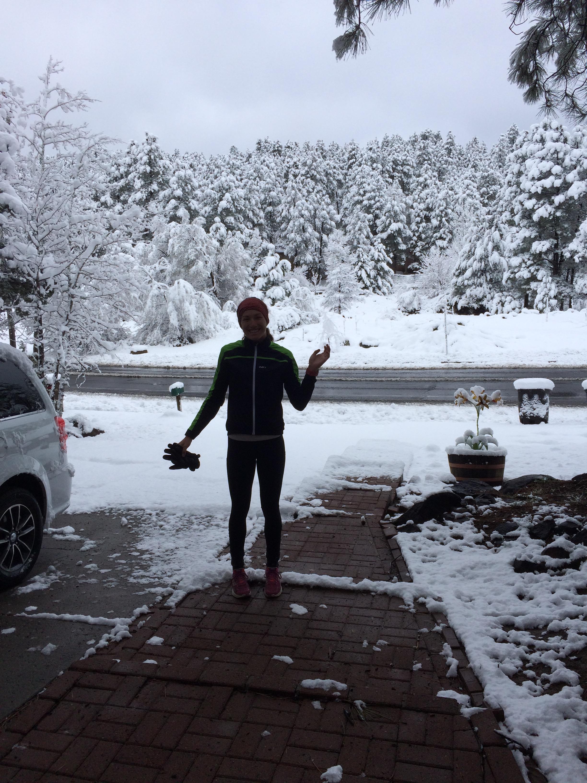 Notre première bordée de neige à Flagstaff.