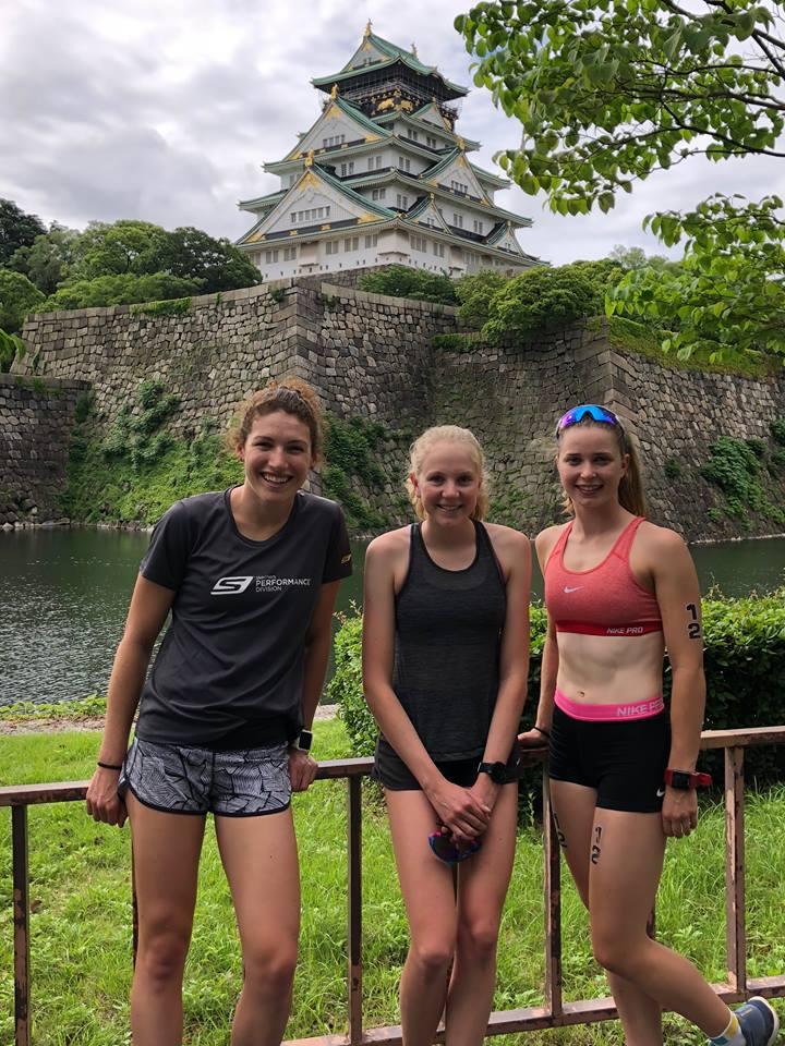 Devant notre site du triathlon d'Osaka. Le château d'Osaka.