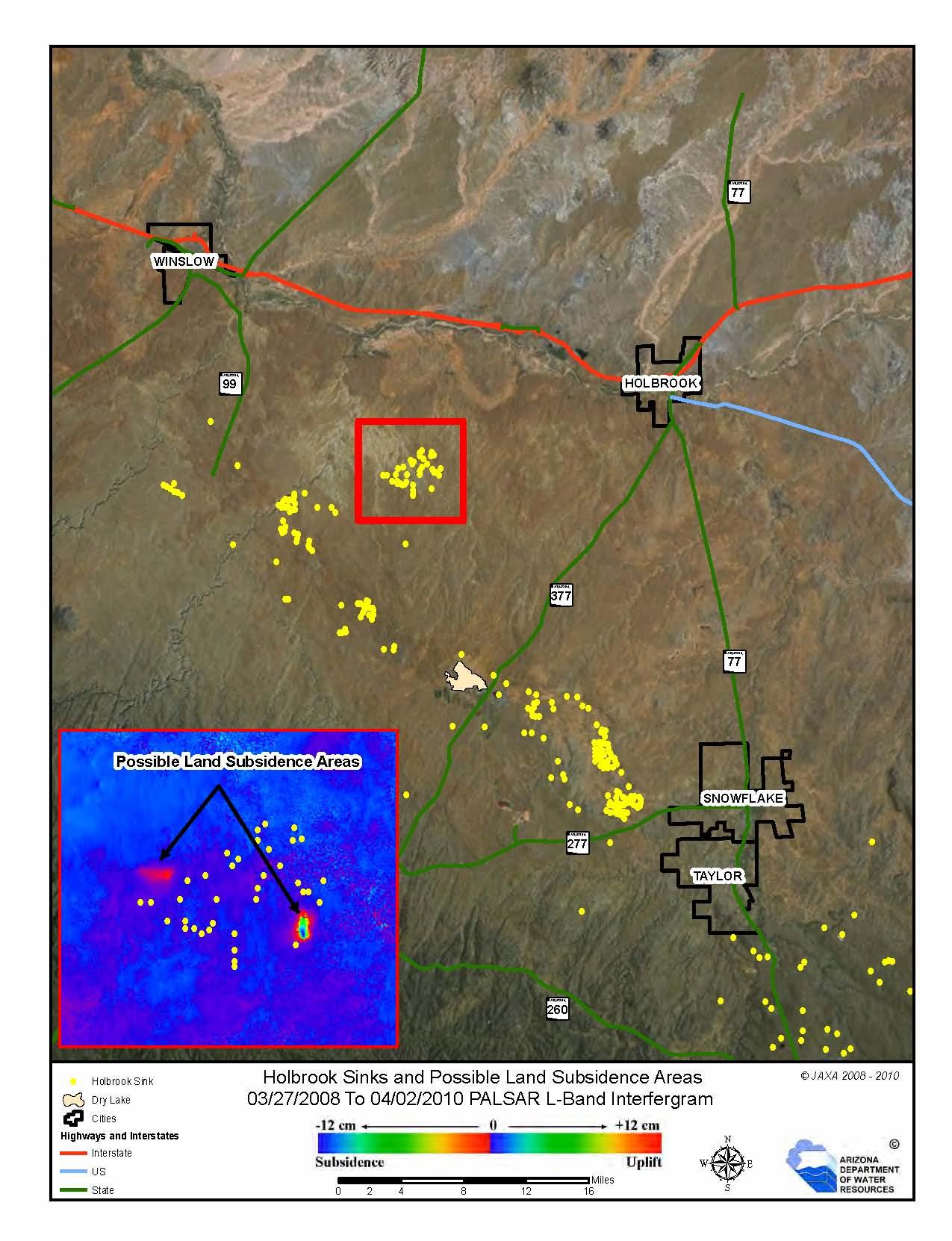 Karst features in AZ, Sinkholes and dissolution tension cracks near Holbrook, AZ