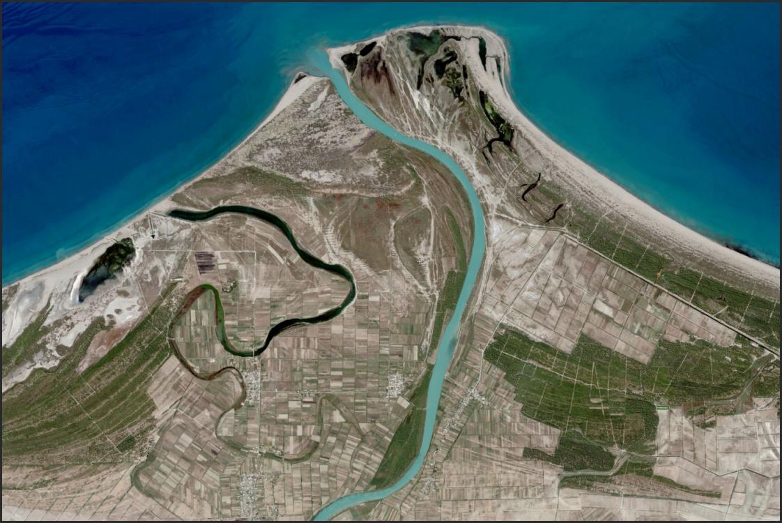 Delta of the Vjoses River, Albania. North to right.   http://www.flashearth.com/?lat=40.656384&lon=19.355545&z=14.1&r=87&src=msa