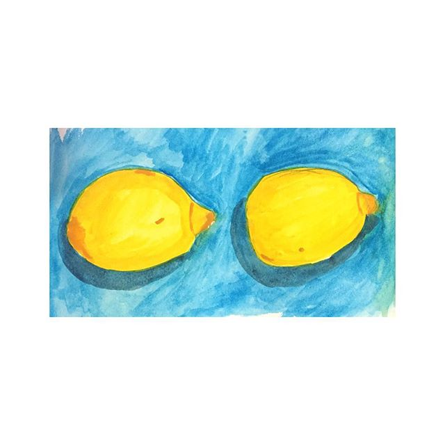 Day 13. Two Lemons . . . #100beautifulthings #thefirst100days #100dayproject #watercolor #illustration #womenwhodraw