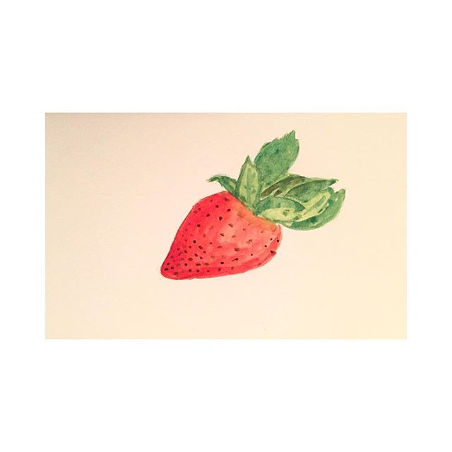Day 16. . . . #100beautifulthings #thefirst100days #first100days #the100dayproject #womenwhodraw #watercolor #strawberry