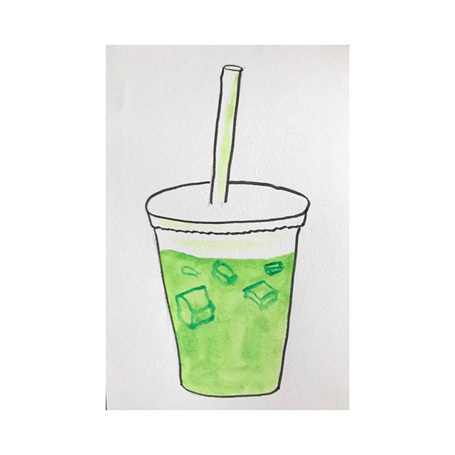 Iced matcha! . . . . #the100dayproject #100beautifulthings #womenwhodraw #first100days #watercolor #matcha #100dayproject