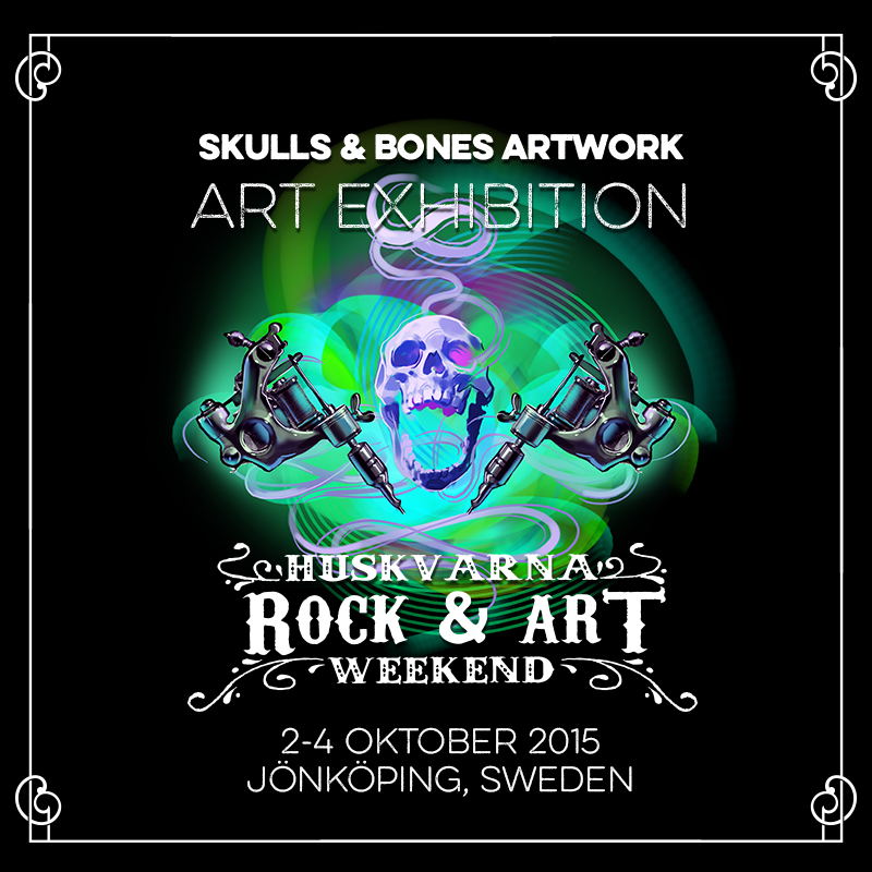 "Skulls & Bones Artwork exhibition at ""Huskvarna Rock & Art Weekend"""
