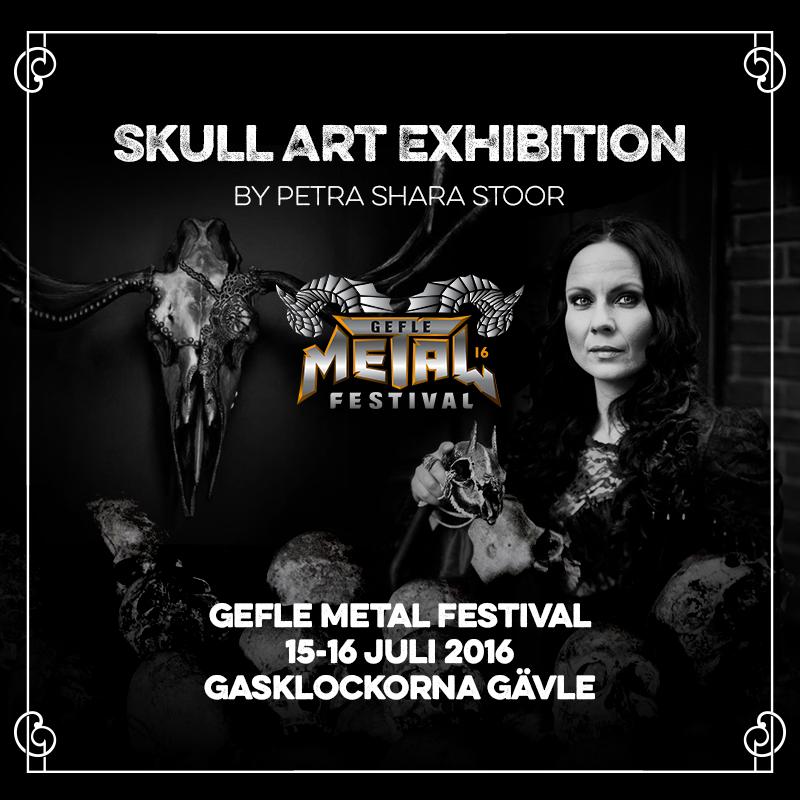 Skull Art Exhibition by Petra Shara Stoor at Gefle Metal Festival in Gävle.